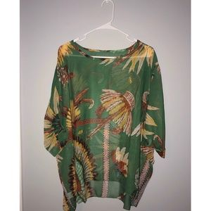 Green Patterned Poncho